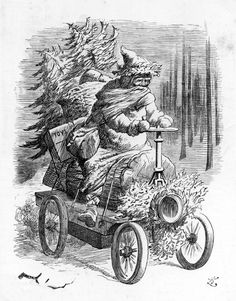 1896: Illustration of Santa Claus riding motor car laden with toys