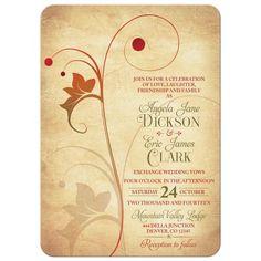 Autumn Wedding Invitation | Rustic Vine Leaf Berry