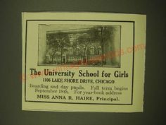 1918 The University School for Girls Ad - Chicago