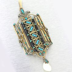 1880s Antique Victorian Seed Pearl Turquoise MOP Onyx Lavaliere Necklace Pendant #Unbranded #PendantLocket