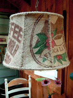 Picture of I Like My Coffee Light...Burlap Lampshade