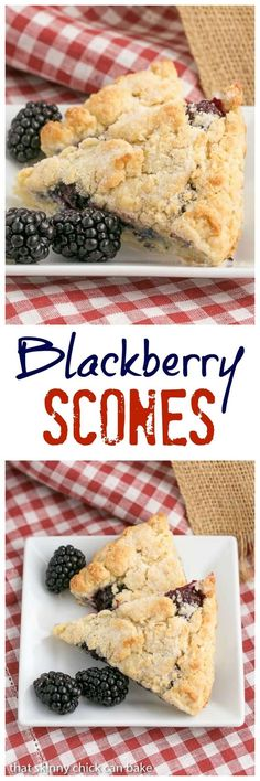 Fresh Blackberry Scones made with cream | Moist, scrumptious and packed full of berries @lizzydo