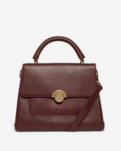 Large circle clasp leather tote bag - Oxblood   Bags   Ted Baker