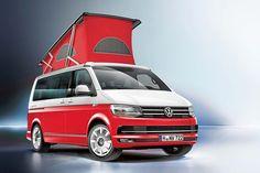Ocean Red, Ocean Blue und Ocean Grey heißen die drei neuen Sondermodelle des VW Californias. Die Campingbusse kommen mit drei auffälligen Zweifarblackierungen. Das Aufstelldach ist ebenfalls farbig. Vw Caravelle, Transporter T3, Volkswagen Transporter, Vw T5, Volkswagen California, T6 California, Petit Camping Car, Van Camping, Bus Camper
