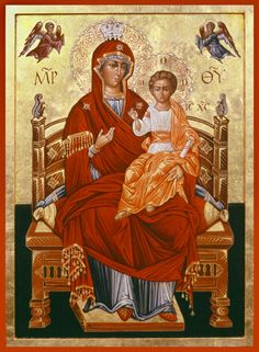Virgin Mary and Jesus enthroned icon