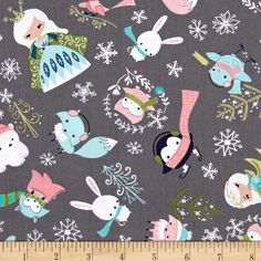 Winter Wonderland Ice Princess Iron from @fabricdotcom  Designed by Camelot Fabrics, this cotton fabric is perfect for quilting, apparel and home decor accents. Colors include navy, shades of blue, green, pink, peach, white and grey.