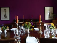 Ben Pentreath dining room with purple walls and orange candles. Ben Pentreath, Palette Art, Purple Walls, Wall Treatments, Decoration, Dining Room, Orange Candles, Prints, Inspiration