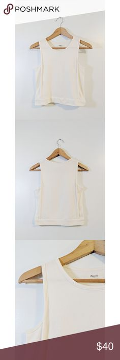 Madewell Tank Top 🌿 • pre-owned but in great condition  • white, thick sweater-like tank top  • 56% cotton, 35% polyester, 9% viscose  • smoke and pet free home Madewell Tops Tank Tops