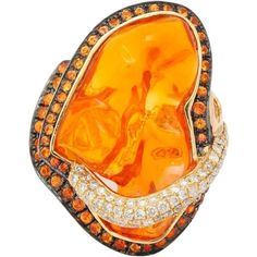 Preowned Mexican Opal Orange Sapphire Diamond Gold Ring ($6,000) ❤ liked on Polyvore featuring jewelry, rings, orange, sapphire diamond ring, emerald cut diamond ring, gold sapphire ring, gold rings and yellow gold rings