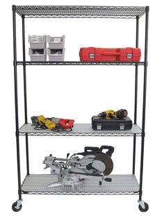 4-Tier NSF Wire Shelving Rack with Wheels and Liners