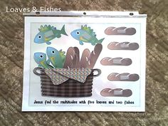 """Free """"Loaves and Fishes"""" quiet activity (file folder game) for Sacrament meeting or church"""