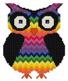 Bargello Zigzag Chakra Owl 2 Counted Cross Stitch by TheGiftMarket, $3.00