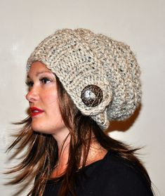 Slouch Hat Slouchy Beanie 100% WOOL Button Hand Knit Winter Adult Teen CHOOSE COLOR Oatmeal Naturel Wood Earth Neutral Chunky Gift. $53.99, via Etsy.