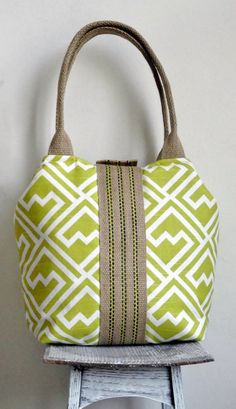 Lime green geometric handbag / tote bag with jute by madebynanna, $65.00