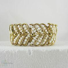 Vintage Trifari Bracelet Wide White Faux Pearl & Gold Tone