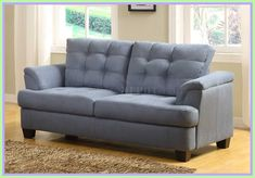Modern lines define the shape of this St. Charles Love Seat by Homelegance Inc. With tufting the overstuffed seating doesn t look bul Blue Velvet Loveseat, Grey Loveseat, Grey Couches, Gray Sofa, Brown Couch, Microfiber Sofa, Hanging Hammock Chair, Big Sofas, Best Leather Sofa