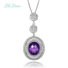 I&zuan 925 sterling silver natrual 4.71ct amethyst pendant purple quartz necklace with silver chain christmas gift