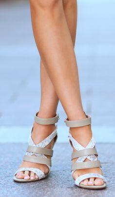 Strappy gray heels