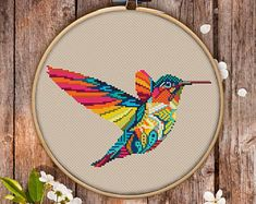 Mandala Hummingbird Cross Stitch Pattern for Instant Download - 309  Lovely Cross Stitch  Room Decor  Needlecraft Pattern  Easy Cross Stitch