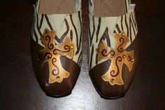 Custom hand painted shoes like Toms Brown Zebra with Cross size 8    . $65.00, via Etsy.
