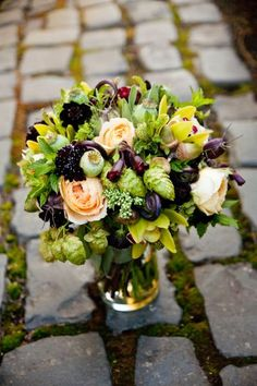 bridal bouquet with chocolate, burgundy, chartreuse and butter yellow flowers and texture, Overlook House, Françoise Weeks