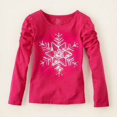 girl - long sleeve tops - ruched sleeve embellished top | Children's Clothing | Kids Clothes | The Children's Place
