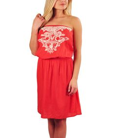Take a look at this Coral Blouson Strapless Dress by SoHo Chick on #zulily today!