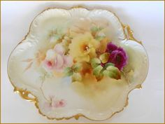 """ANTIQUE LIMOGES PORCELAIN VICTORIAN 16"""" TRAY HAND PAINTED ROSES ~SIGNED E.DONATH #LIMOGES"""