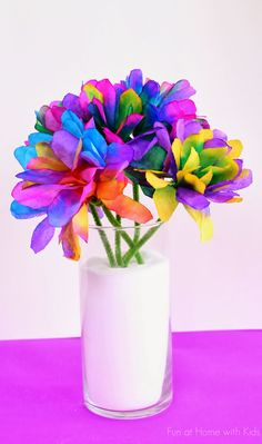 Vibrantly Colored Coffee Filter Flowers from Fun at Home with Kids
