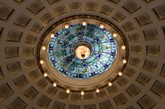A spectacular ceiling light at the Edinburgh City Chambers