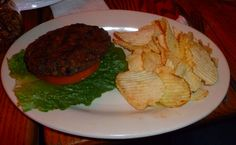 nick's english hut (bloomington, indiana) : black bean burger + chips.