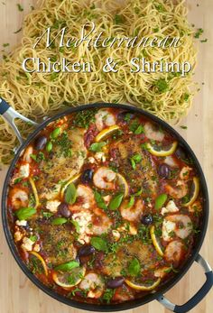 Mediterranean Chicken & Shrimp w/ Lemon & Feta - thecafesucrefarine.com