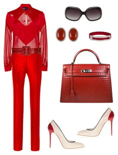 """""""Untitled #161"""" by citygirlmanhattan ❤ liked on Polyvore featuring Bibhu Mohapatra, Preen, Alice + Olivia, Hermès, Alexander McQueen and Oliver Peoples"""