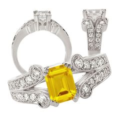 18k Chatham 7x5mm emerald cut yellow sapphire engagement ring with split shank