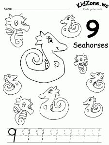 Three themed number tracing pages: ocean, spring, or farm