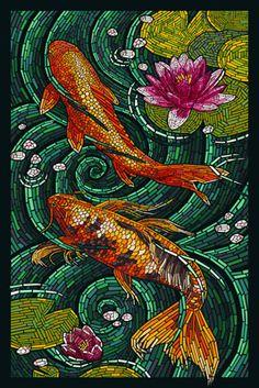 Art Print: Koi - Paper Mosaic Art Print by Lantern Press : Paper Mosaic, Mosaic Crafts, Mosaic Projects, Art Projects, Mosaic Ideas, Stained Glass Art, Mosaic Glass, L'art Du Vitrail, Mosaic Portrait