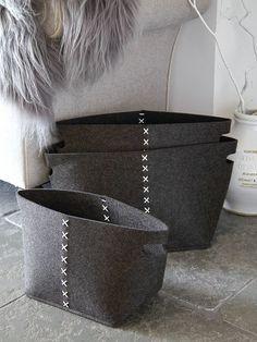 Slate Grey Felt Basket Set