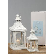 French 2 Piece Iron and Glass Lantern Set