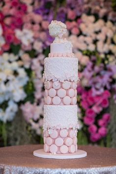 Beautiful pastel pink macaron tower