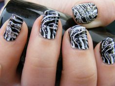 zebra print nails with glitter accents. Get Nails, Love Nails, How To Do Nails, Hair And Nails, Crazy Nails, Black White Nails, White Glitter, White Zebra, Black Silver