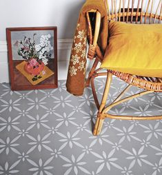 Clementina Floor Stencil for floors, walls, furniture and fabric. Moroccan stencil. Stencils, Stencil Fabric, Stencil Diy, Stencil Painting, Painted Floorboards, Painted Floors, Diy Flooring, Laminate Flooring, Flooring Tiles