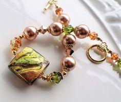 Murano Glass Bracelet, Venetian Rose Gold Bracelet, Murano Jewelry, Venetian Jewelry, Green Copper Rose Gold Murano Statement Bracelet Pearl by hhjewelrydesigns on Etsy