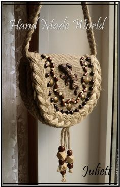 "Купить Сумочка из мешковины ""Ящерица"" - бежевый, сумка, сумка женская, сумка из мешковины, мешковина Denim Crafts, Burlap Crafts, Potli Bags, Sisal, Jute Bags, Linen Bag, Bag Patterns To Sew, Beaded Bags, Fabric Bags"