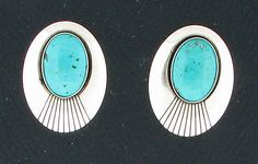 Sterling Silver & Turquoise Southwest Style Post Earrings #Post