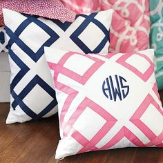 matching pillows with our monograms?? sooo cute :) Maybe in navy with pink monograms?