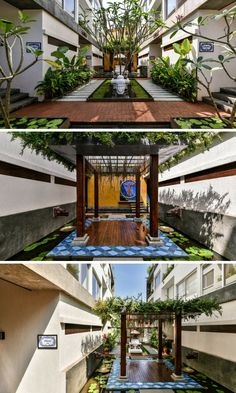 Villas are Rooted to a Central-Courtyard or the 'Living Pavilion' Small Backyard Gardens, Rooftop Garden, Indoor Garden, Courtyard Landscaping, Courtyard House Plans, House Landscape, Landscape Design, Garden Design, Indian Home Design