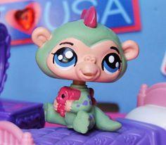 LPS Kawaii Baby Dinosaur pajamas OOAK Custom figure Littlest Pet Shop monkey  #Hasbro
