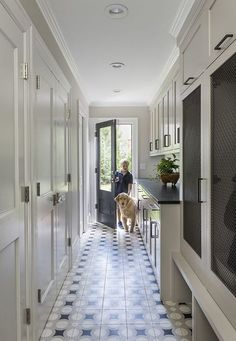 MUD ROOM / PANTRY locker doors with mesh, soapstone counters, cement tile floors Mudroom Laundry Room, Laundry Room Design, Hallway Decorating, My New Room, Living Room Designs, New Homes, House Design, Door Design, Decoration