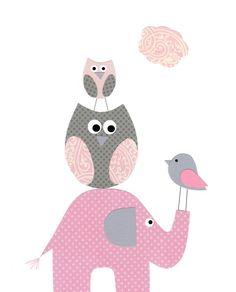 Nursery Art Baby Girl Kids Wall Art Bird Giraffe Pink por vtdesigns