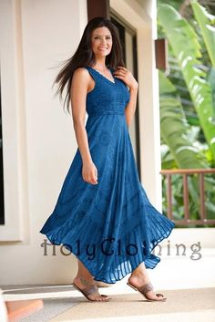 "Norma Jean Empire Waist Lace & Floral Chiffon Boho Maxi Sun Dress - Dresses ""Blue Divine!"""